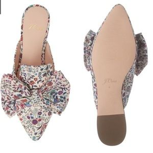 J. Crew Floral Bowed Pointed Toe Mule Size 7 1/2